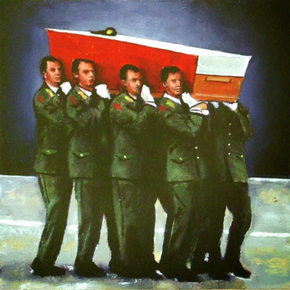 """Peace Mission- Soldiers Carrying Fallen Brother To Airplane"" original fine art by Gerard Boersma"
