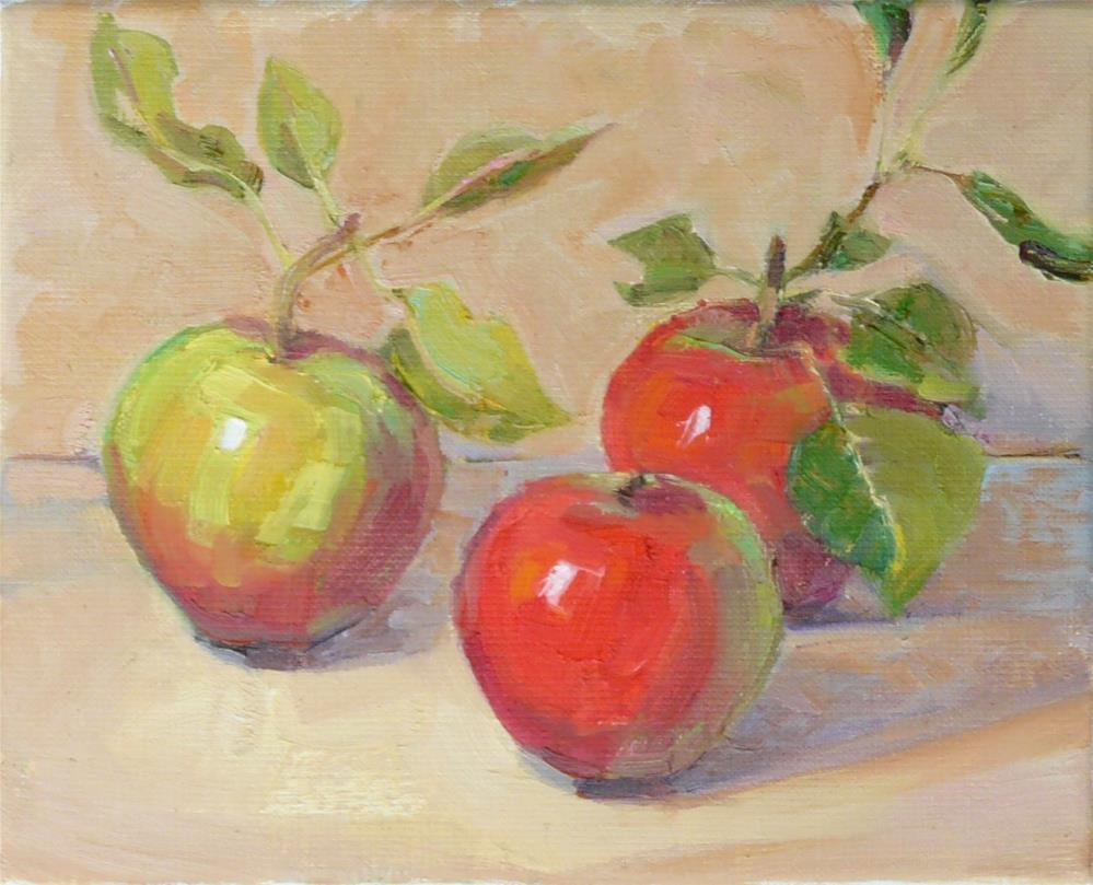 """Apple Harvest Again,still life,oil on linen,8x10,price$300"" original fine art by Joy Olney"