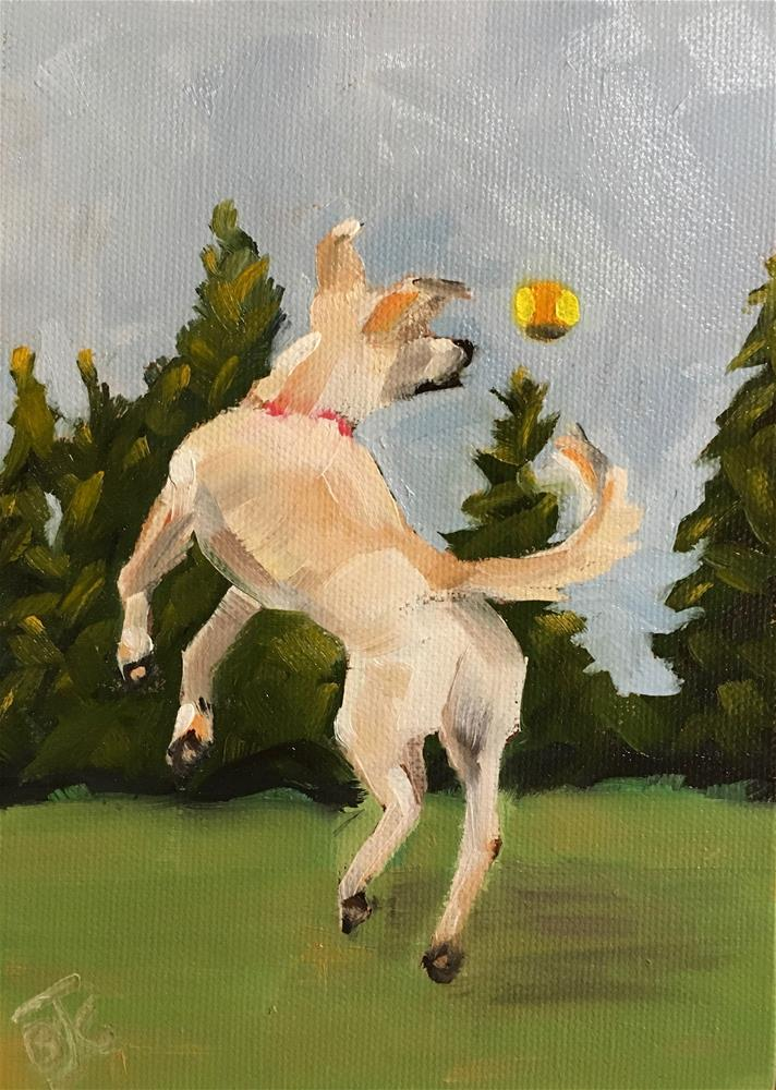 """Playing Catch With My BFF"" original fine art by Bobbie Cook"