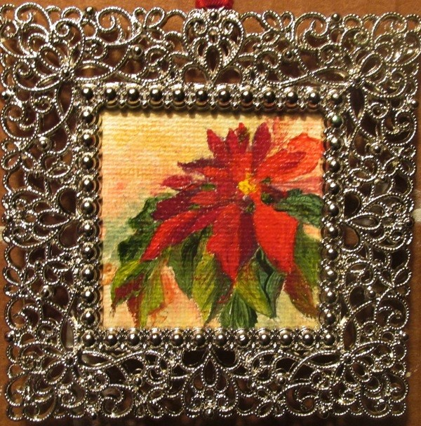 """Christmas Poinsettia Ornament"" original fine art by Ruth Stewart"