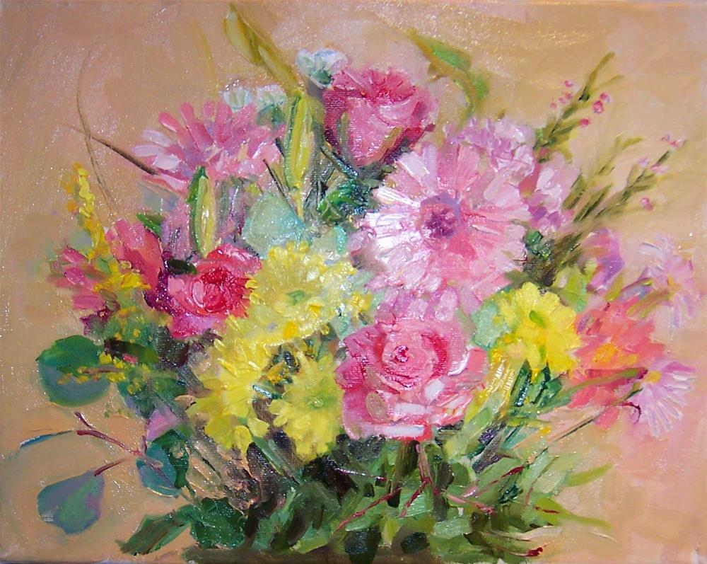"""Flower Celebration,still life,oil on canvas,8x10,priceNFS"" original fine art by Joy Olney"