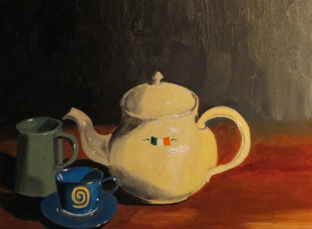 """Two Cups of Tea"" original fine art by Bob Blackmon"