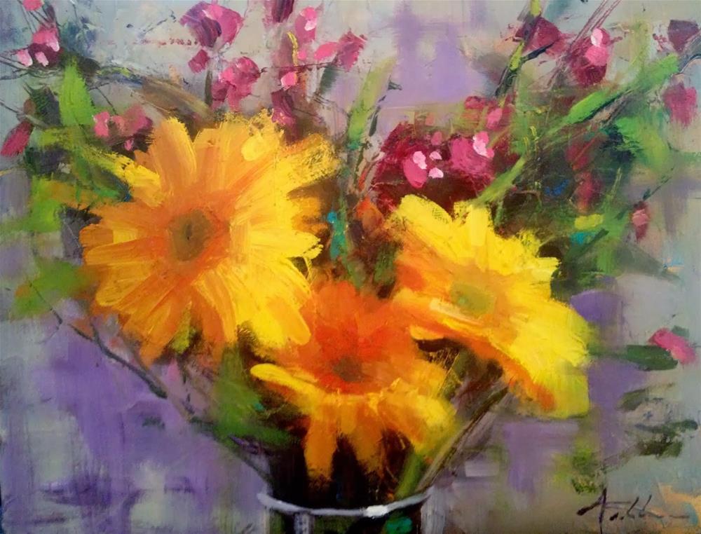 """Daisy Glow, 10x8"" original fine art by Ann Feldman"