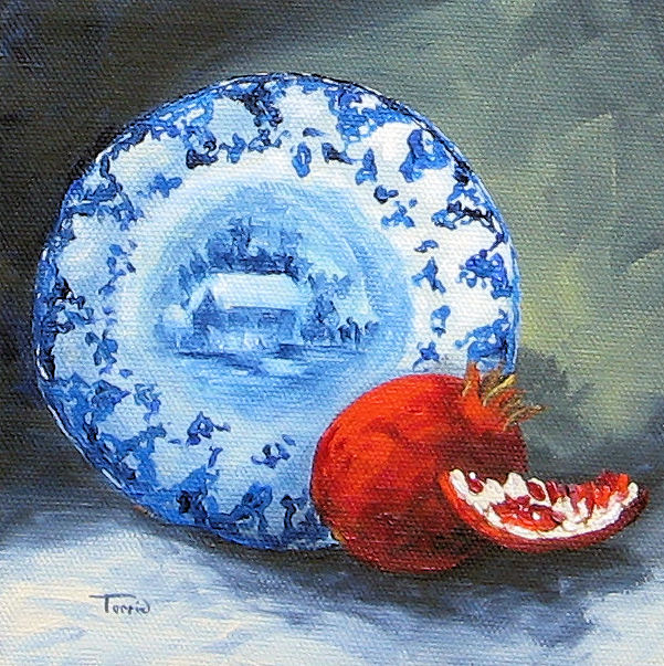 """Flow Blue and Pomegranate"" original fine art by Torrie Smiley"