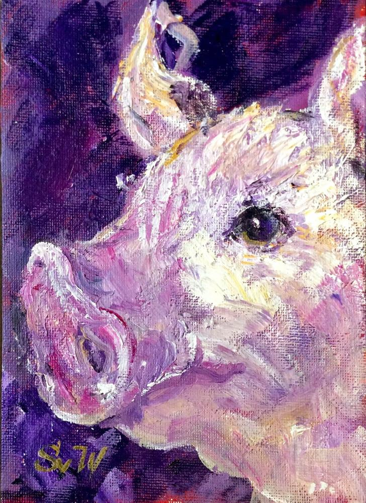 """Pig painting"" original fine art by Sonia von Walter"
