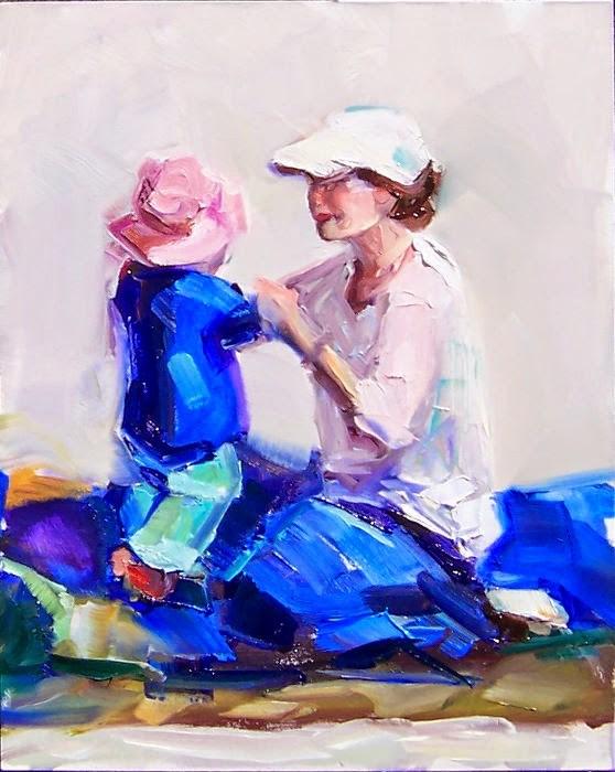 """Hold Still,figures,oil on canvas,10x8,price$400"" original fine art by Joy Olney"