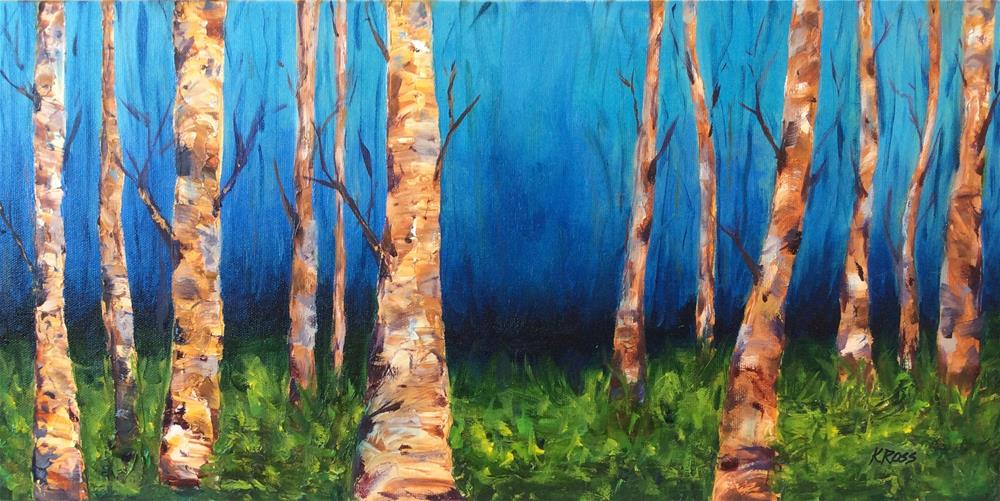 """Birch meadow"" original fine art by Kathryn Ross"