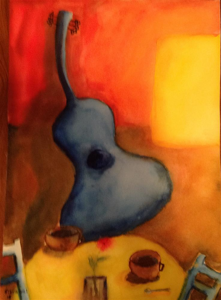 """Guitar, coffee, a flower, and two chairs"" original fine art by Giovanni Antunez"