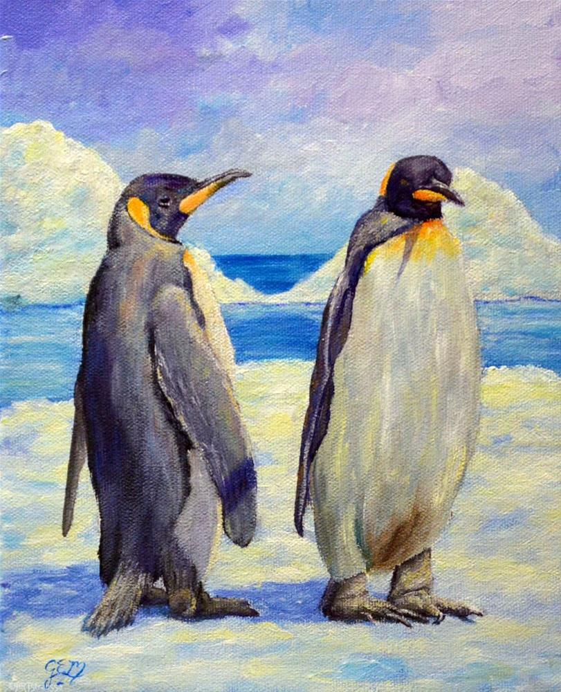 """Penguin Pals"" original fine art by Gloria Ester"