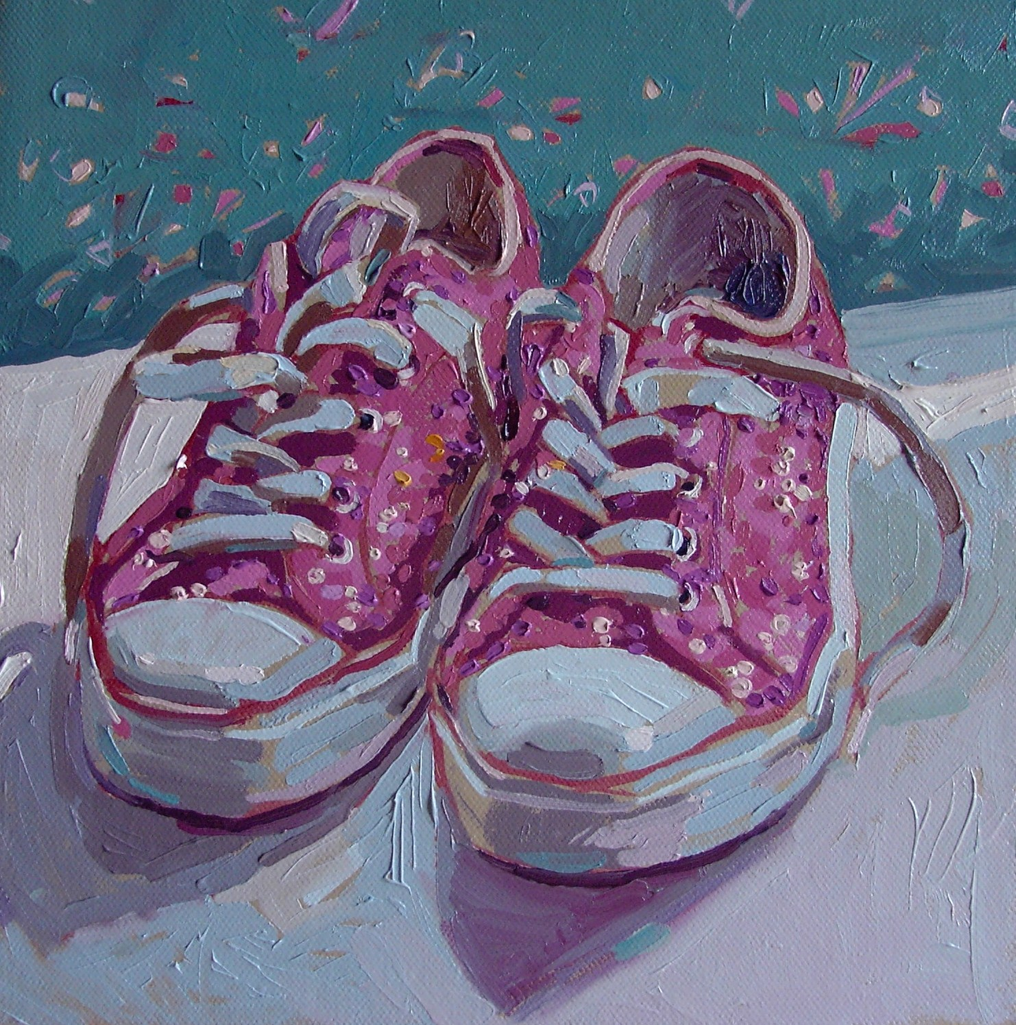 """Pink sparkly shoes"" original fine art by Haidee-Jo Summers ROI"