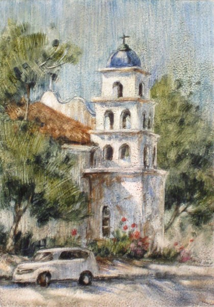 """Church in Old Town"" original fine art by Ginger Pena"