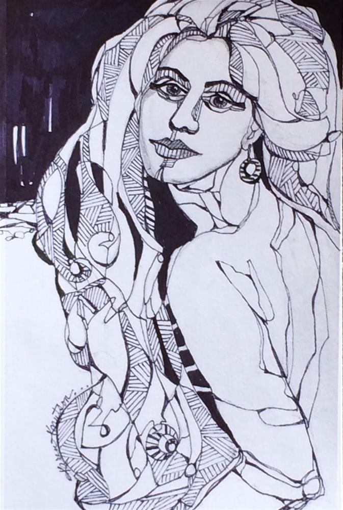 """""""Woman of Mystery, (#3 Wire Drawing of 30 Day Challenge)"""" original fine art by Karen Knutson"""