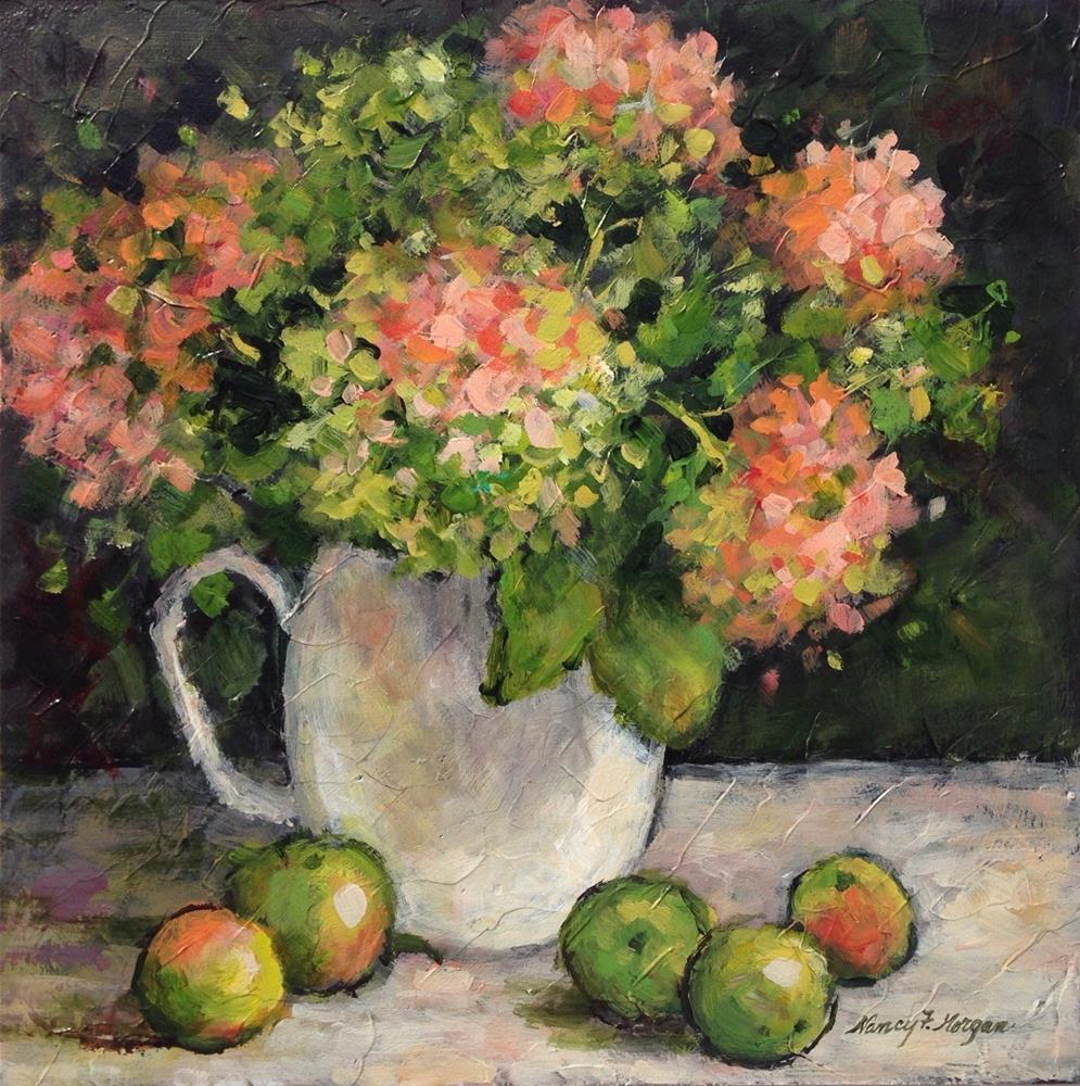 """Hydrangeas and Apples"" original fine art by Nancy F. Morgan"