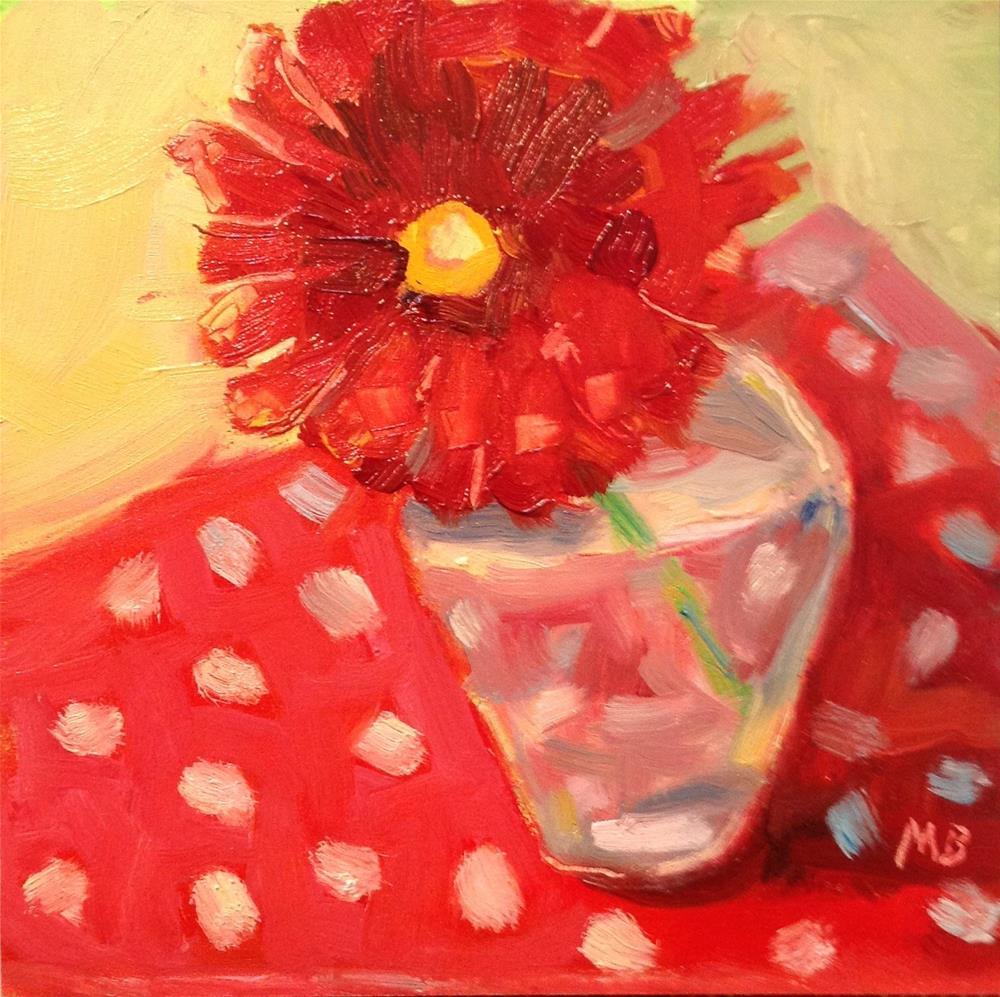 """Zingy Zinnia"" original fine art by Marcia Bergtholdt"