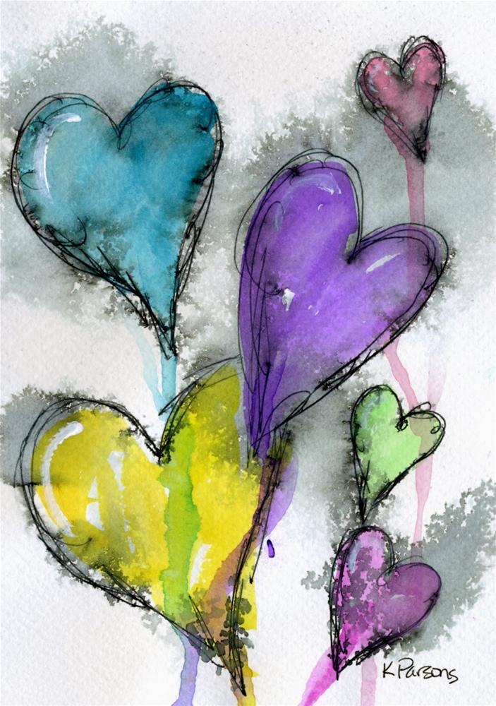 """Hearts-o-Plenty"" original fine art by Kali Parsons"