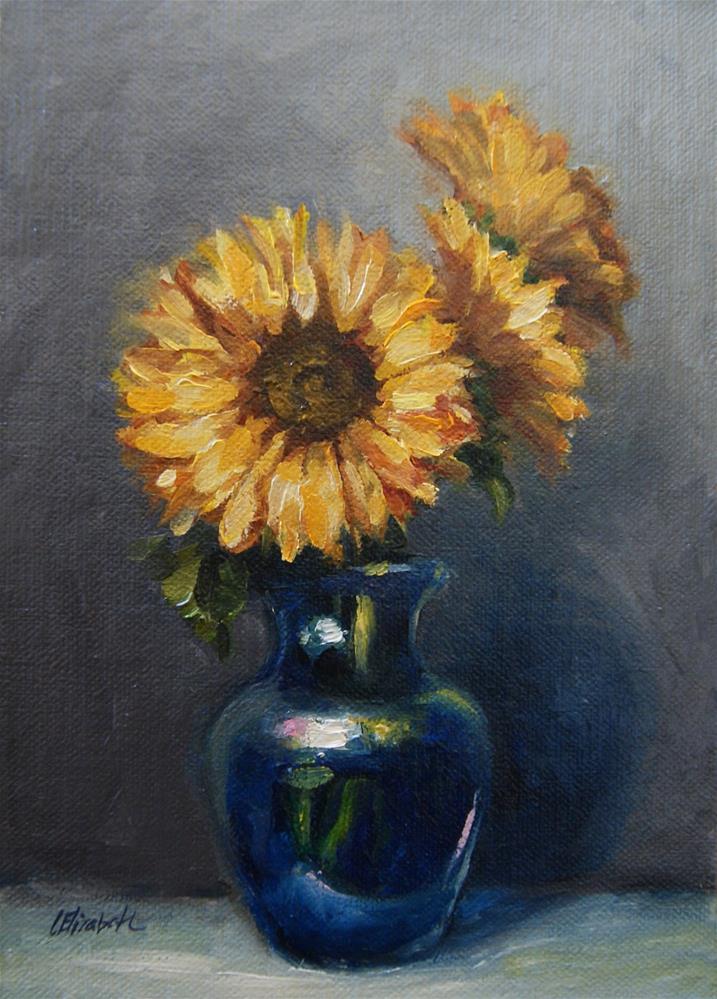 """Sunflowers in Cobalt Blue Vase,  Oil on 5x7 Linen Panel"" original fine art by Carolina Elizabeth"