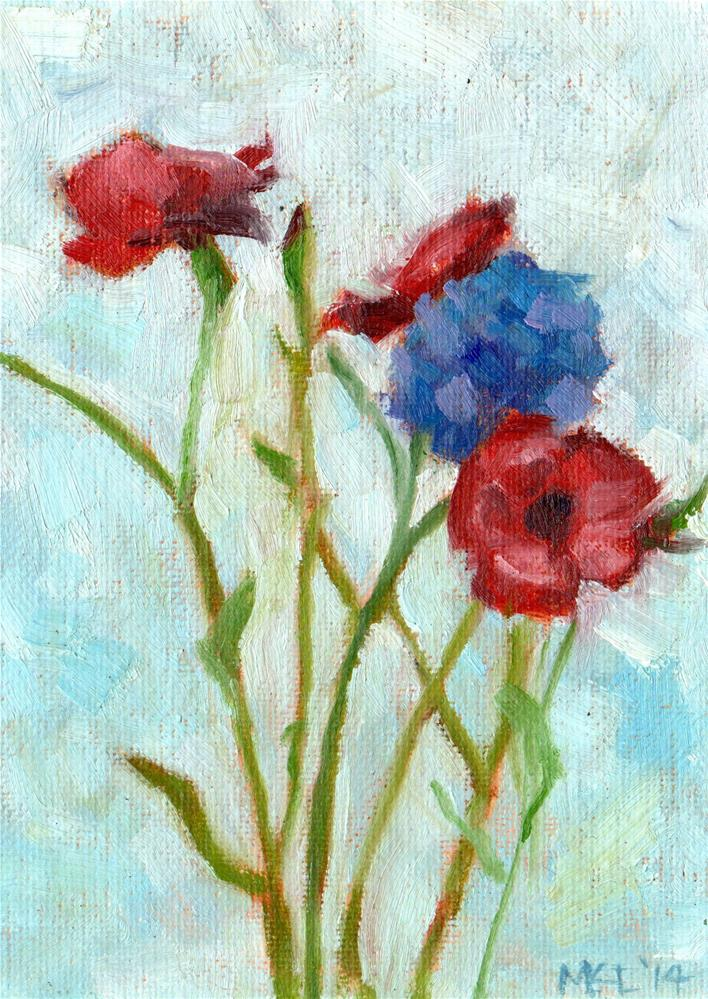 """Violet Flowers"" original fine art by Marlene Lee"