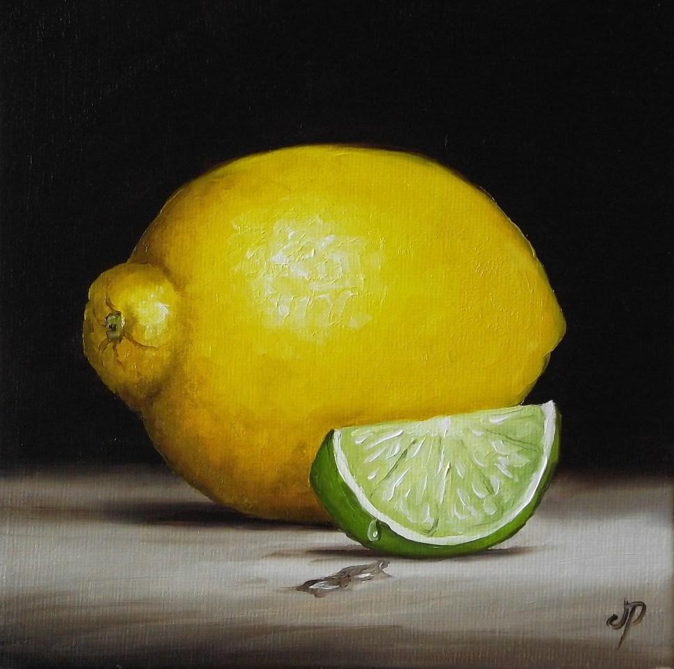 """Lemon with Lime slice"" original fine art by Jane Palmer"
