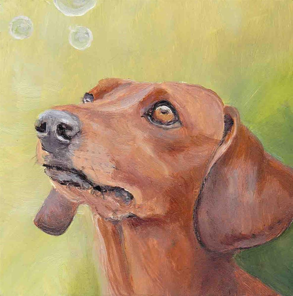 """Dachshund Sees Bubbles"" original fine art by Charlotte Yealey"