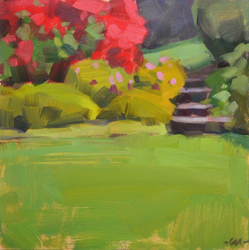 """Path Through the Rhodies"" original fine art by Carol Marine"
