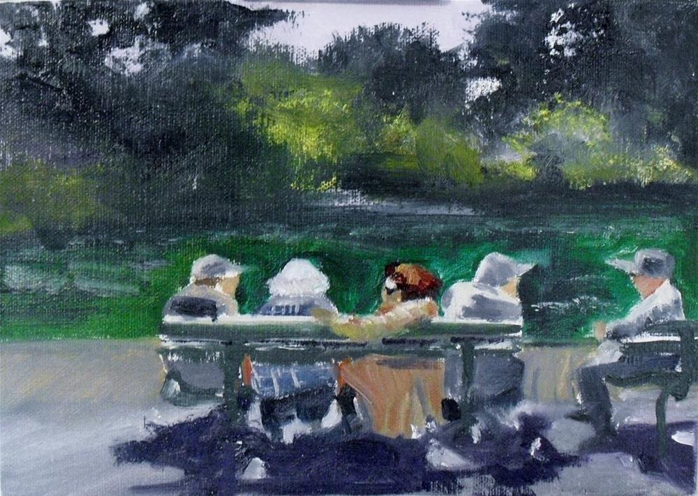 """Sunday in the Park with Amy~ 5x7 ~oil on linen panel"" original fine art by Vincenza Harrity"