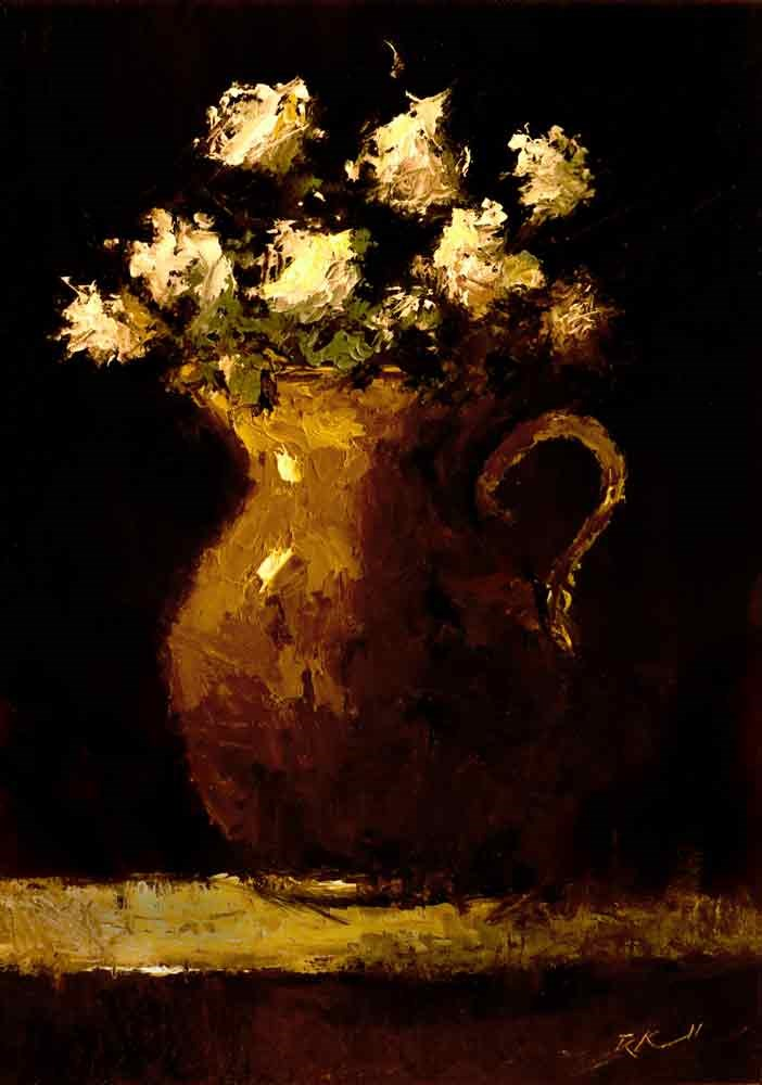 """Flowers in a Pitcher"" original fine art by Bob Kimball"