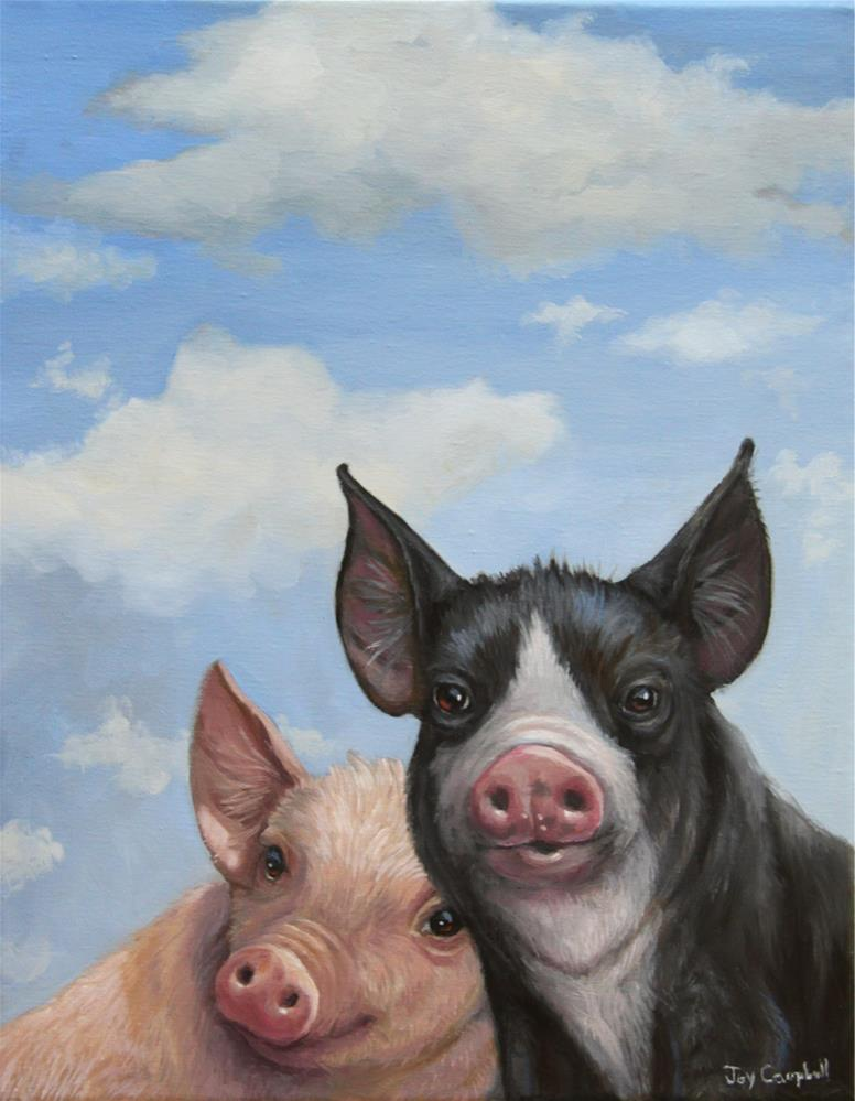 """Piggies in the Clouds"" original fine art by Joy Campbell"