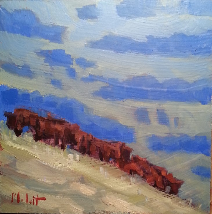 """Cows Hillside Original Daily Oil Painting Impressionism"" original fine art by Heidi Malott"