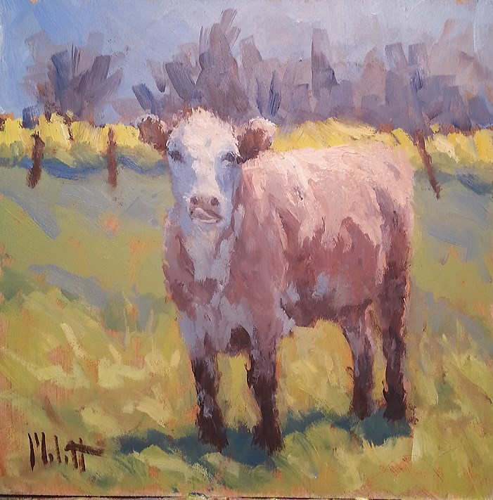 """Cow Lick Farm Life Painting Original Oil"" original fine art by Heidi Malott"