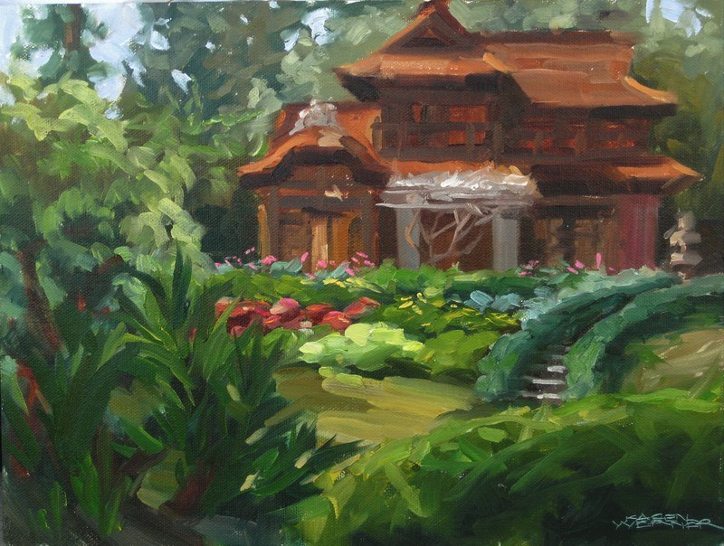 """Japanese Garden"" original fine art by Karen Werner"