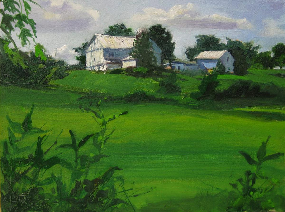 """Summer Barns  oil landscape painting"" original fine art by Robin Weiss"