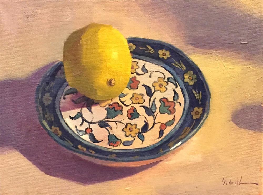 """Lemon on a Painted Dish"" original fine art by Sarah Sedwick"