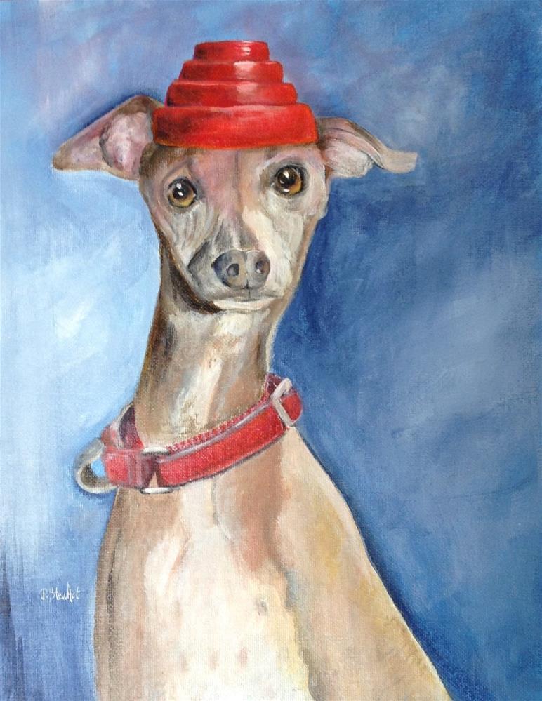 """11x14 Devo Dog Whippet Whippet Good Italian Greyhound Acrylic Penny StewArt"" original fine art by Penny Lee StewArt"