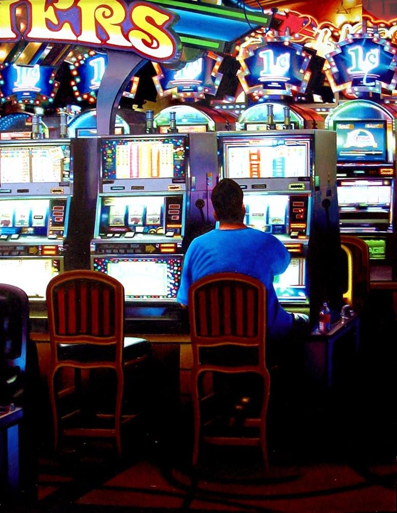 """Las Vegas Slot Machines- Painting Of Man Gambling In Las Vegas Hotel Lobby"" original fine art by Gerard Boersma"