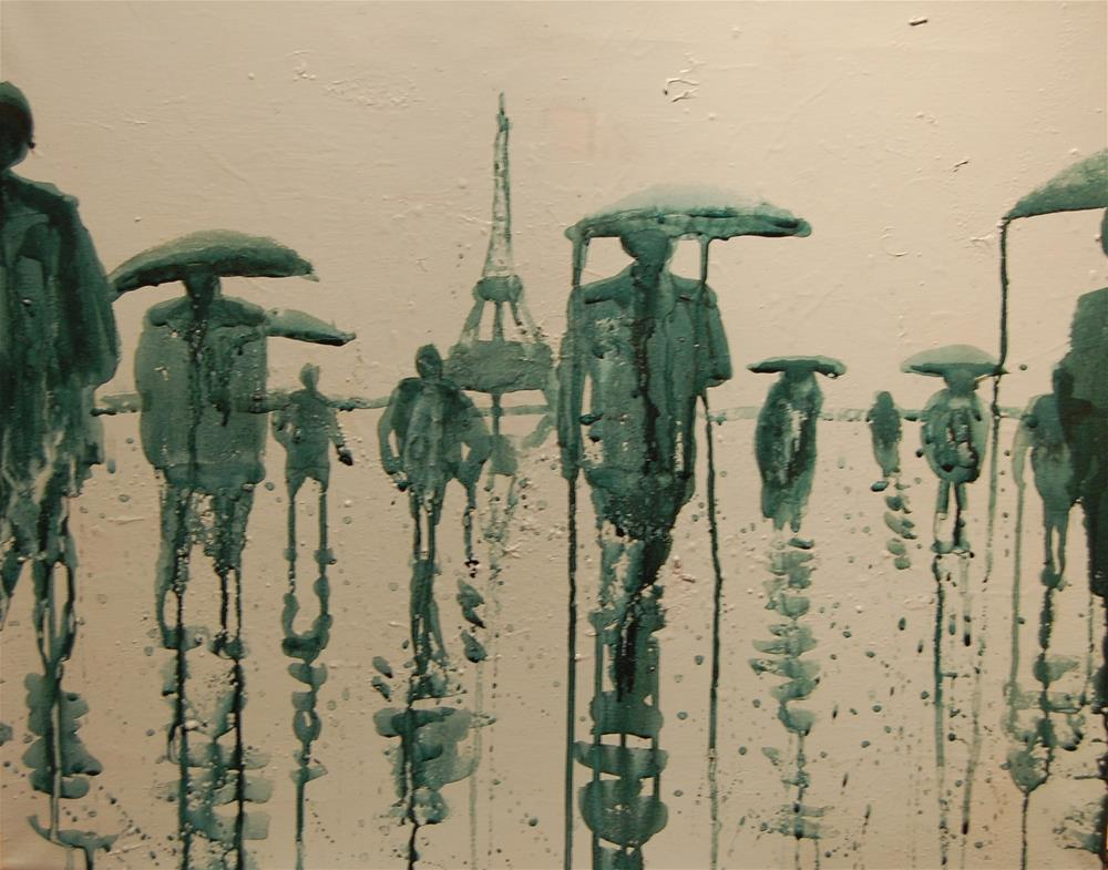 """Paris in the rain (people in the rain 1)"" original fine art by michael vigneux"