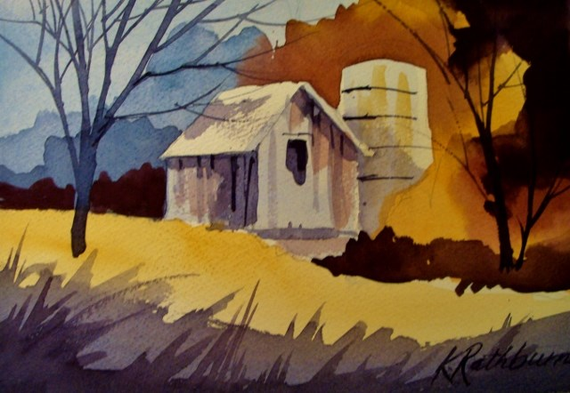 """Premixed Barn"" original fine art by Kathy Los-Rathburn"