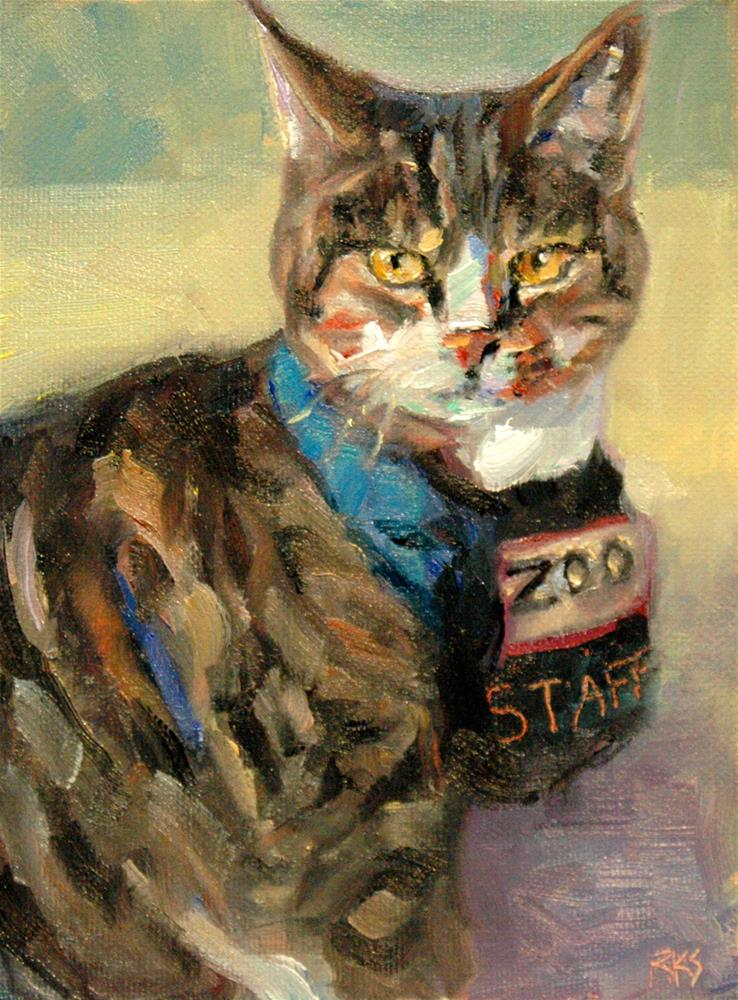 """Chester Our Zoo Kitty"" original fine art by Rachel K Schlueter"