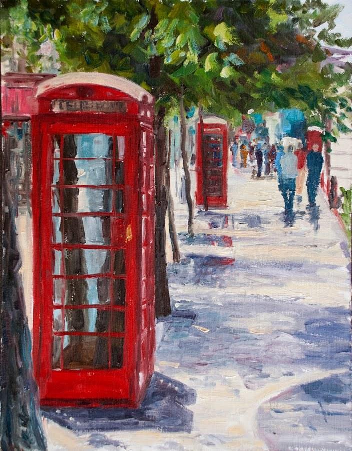 """KM2907 London Red (London,urban, cityscape)"" original fine art by Kit Hevron Mahoney"