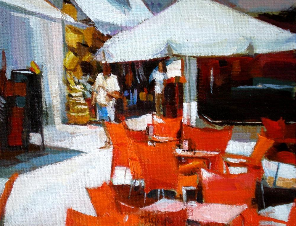 """Red chairs waiting"" original fine art by Víctor Tristante"