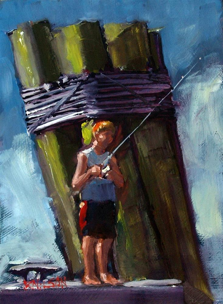 """Boy Fishing"" original fine art by Rick Nilson"
