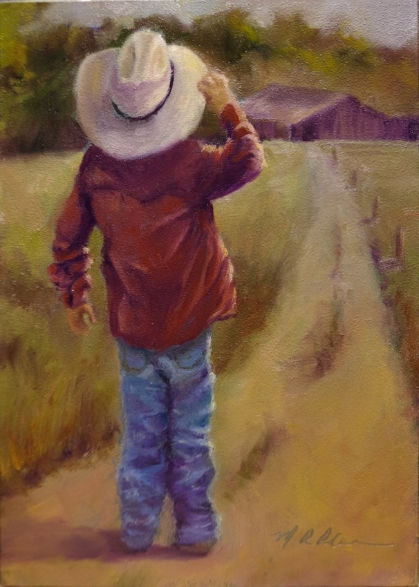 """Waiting 'til the Cows Come Home"" original fine art by Marilyn R. Place"