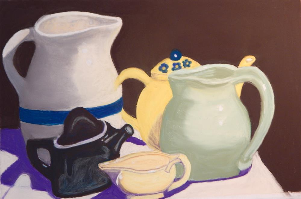 """Still Life with Pitchers and Teapot"" original fine art by Elaine Shortall"