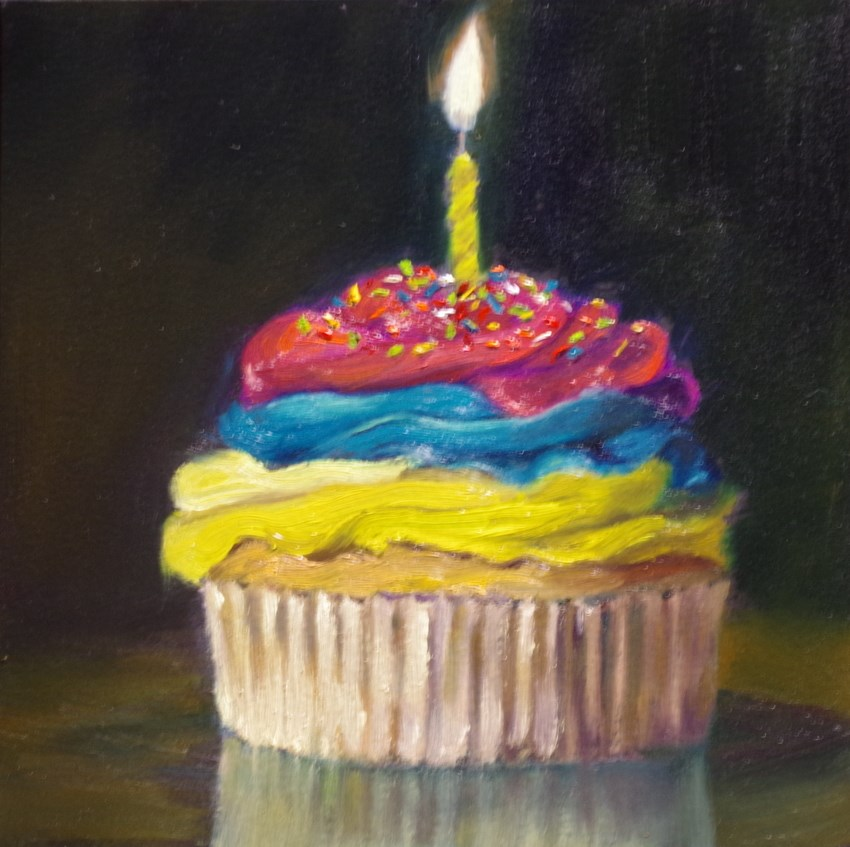 """Happy Birthday Cupcake"" original fine art by Marilyn R. Place"