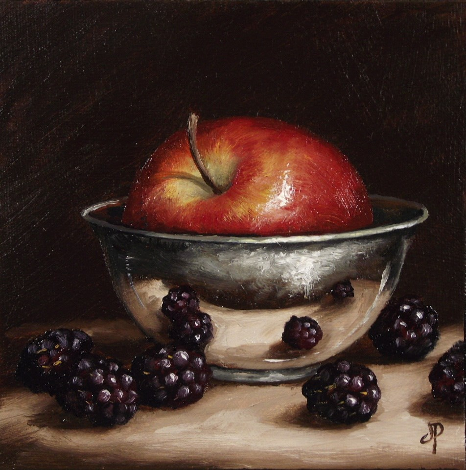 """Apple in silver & Blackberries"" original fine art by Jane Palmer"
