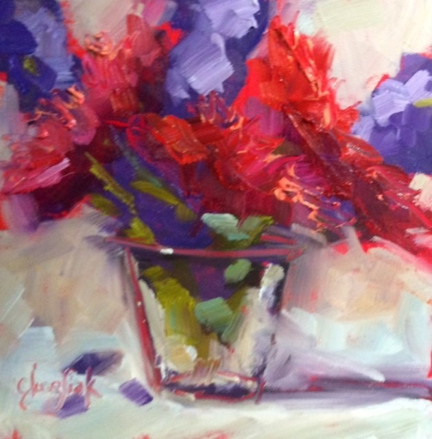 """Mums"" original fine art by Carol Josefiak"