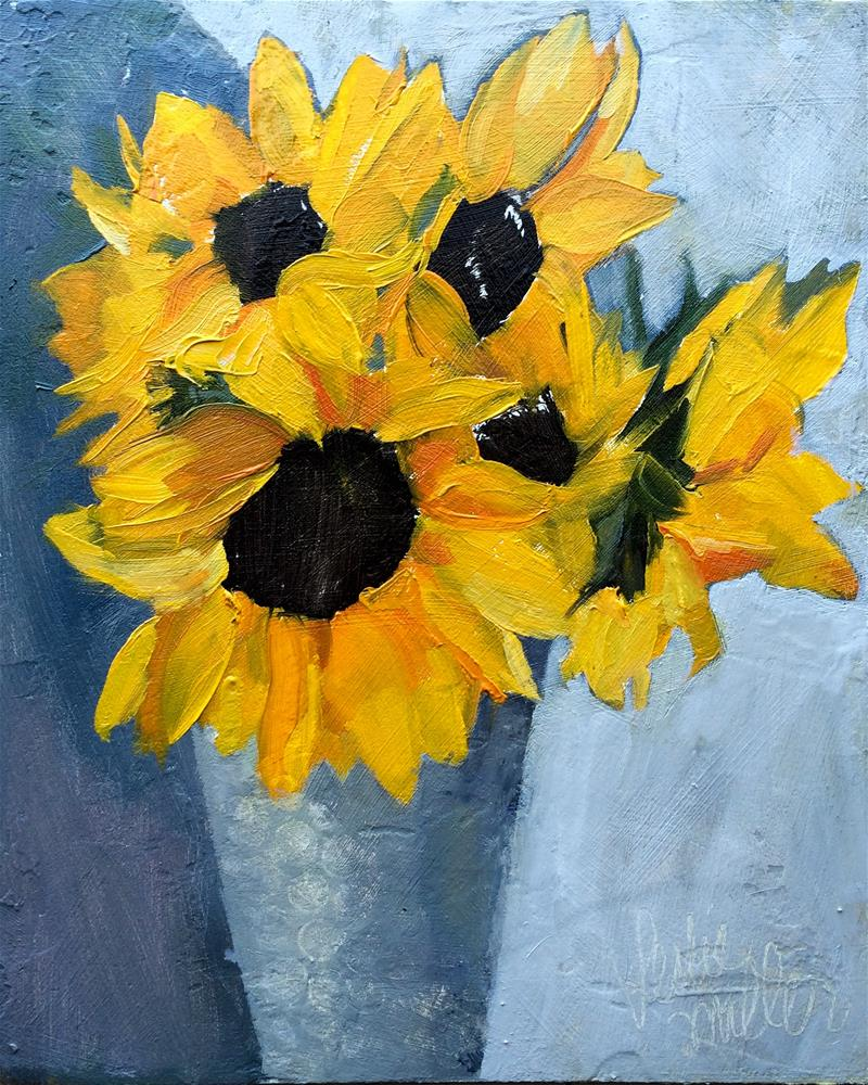 """Sunflowers"" original fine art by Leslie Miller"