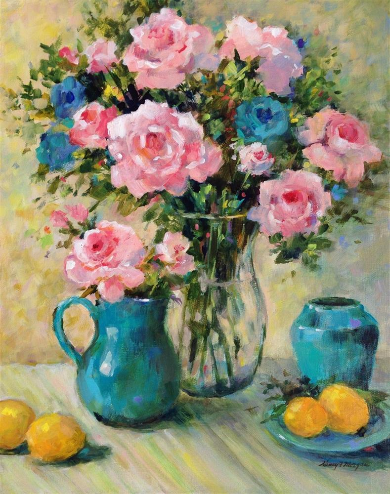 """Pink Roses and Jade"" original fine art by Nancy F. Morgan"