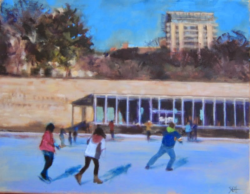 """""""Steinberg skating rink- update"""" original fine art by Sandy Haynes"""