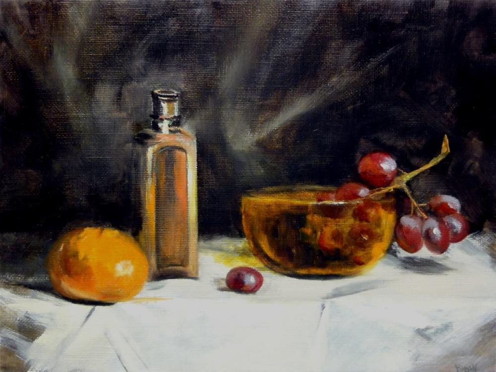 """Antique Medicine Bottle With Orange And Grapes"" original fine art by Dalan Wells"