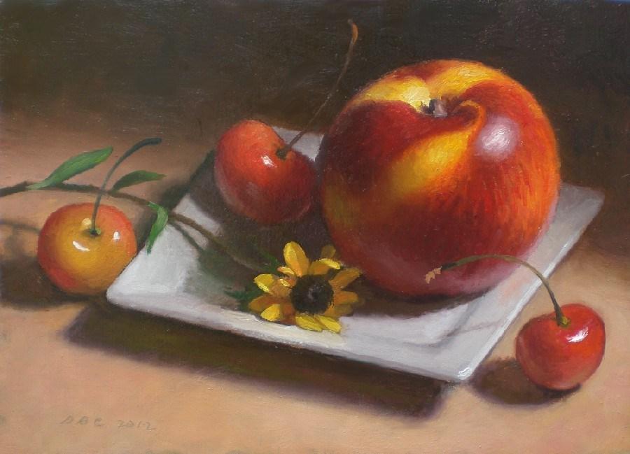 """""""Nectarine and Cherries"""" original fine art by Debra Becks Cooper"""